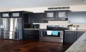 gray kitchen cabinets with dark wood floors kitchen decoration