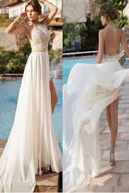 wedding dresses high backless high neck lace slit bridal gowns wedding