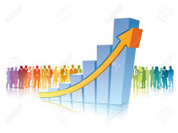 growing chart crowd of people is standing in front of big growing chart royalty