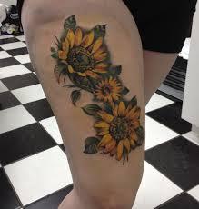 sunflower thigh tattoo tattoos pinterest tattoo tatoo