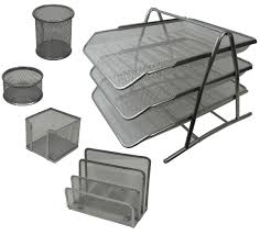 metal mesh desk set of 5 pcs silver 3 tier