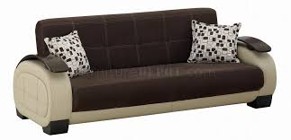 Fabric  Beige Vinyl TwoTone Modern Sofa Bed WOptions - York sofa bed 2