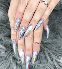 silver hologram stiletto nails c l a w s pinterest