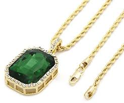 necklace gold men images Mens gold tone iced out green octagon ruby pendant with 3mm 24 jpg