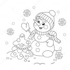 coloring page outline of snowman with christmas tree u2014 stock