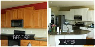 glass countertops before and after painted kitchen cabinets