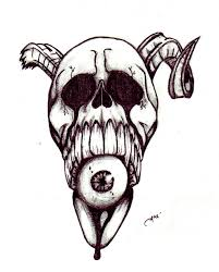 skull pencil and in color skull