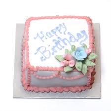 minature happy birthday square sheet cake w blue u0026 pink roses
