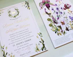 Foil Wedding Invitations A Peek Into The Studio Watercolor And Gold Foil Botanical