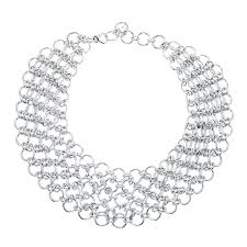 collar necklace sterling silver images Thistle bee sterling silver chainmail collar necklace jewelista jpg