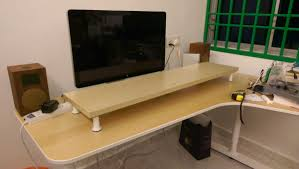 Diy Stand Up Desk Ikea by 10cm Lift Desk Shelf Monitor Stand Ikea Hackers Ikea Hackers