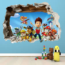 Children Wall Decals Paw Patrol Smashed Wall Sticker 3d Bedroom Boys Girls Vinyl Wall