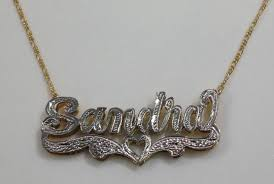 3d Nameplate Necklace Personalized 14k Gold Overlay Silver Plate Double 3d Any Name