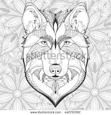 wolf face coloring page patterned head wolf vector illustration line stock vector
