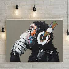 Hanging Art Prints Thinking Monkey With Headphone Canvas Art Prints Wall Hanging Art