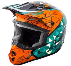 youth small motocross helmet kinetic crux teal orange black helmet fly racing motocross