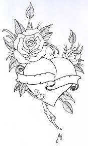roses drawings with hearts rose heart tat sketch tattoo