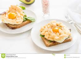 breakfast with wholemeal bread toast and cloud egg stock photo