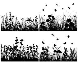 free silhouette images several grass and butterflies silhouette vector free vector 4vector
