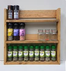 rustic spice rack open top light oak finish 3 shelves