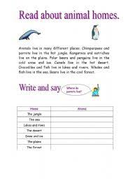 english worksheets animals and their homes