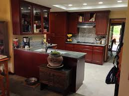 Red Cabinets In Kitchen by Cherry Oak Cabinets Kitchen Transitional With Stone Tile Backsplash