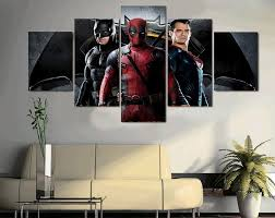 Superman Bedroom Decor by 5 Pcs With Framed Printed Batman Superman Deadpool Painting On