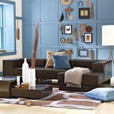 Living Room Ideas With Leather Sofa by Light Blue Accent Wall And Dark Brown Leather Couch Living Room