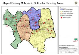 Primary Map Map Of Primary Schools In Sutton By Planning Areas Sutton Council
