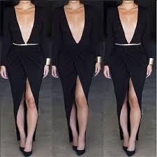 summer dress 2015 women long sleeve front side split slit bodycon