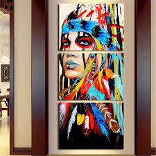 Home Artwork Decor Abstract Indian Woman Canvas Oil Painting Print Picture Home Wall