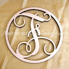 monogrammed home decor wooden single letter large round frame unpainted monogram home
