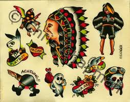 native indian american traditional tattoo sheet