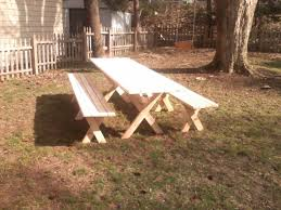 How To Build A Wooden Picnic Table by Picnic Table With Detached Benches 9 Steps With Pictures