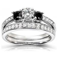 black engagement ring set 1 carat white and black wedding ring set in white