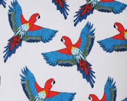 Bird Print Curtain Fabric Tropical Fabric Etsy