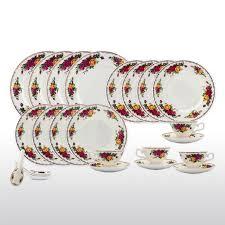 bone china 24 piece dinnerware set english rose designs service