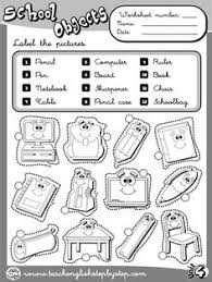 lots of worksheets for common objects categories colors shapes