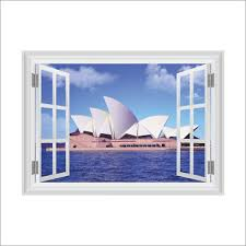 home decor sydney removable 3d ocean sydney opera house window home decor sticker wall