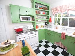 mid century kitchen with checkerboard kitchen and three pendant