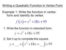 writing a quadratic function in vertex form