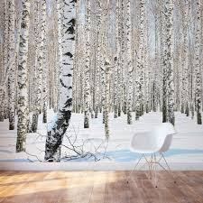 Large Wall Murals Wallpaper by Winter Birch Trees Wall Mural