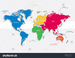Vector World Map World Map Continents Colors Vector Individual Stock Vector