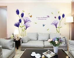 fashion purple tulips flowers wall stickers for living room diy 3d