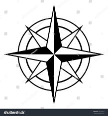 antique style compass rose icon black stock vector 291576314