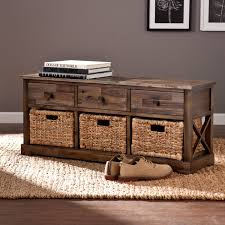 Bench With Storage Baskets by Southern Enterprises Corrine Storage Bench With 3 Baskets