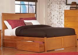 Flat Platform Bed Frame Furniture Brown Wooden Flat Platform Bed Frame With Drawers And