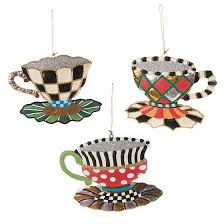 mackenzie childs teacup ornaments set of 3