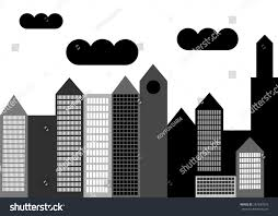 vector house silhouette skyscraper windows building stock vector