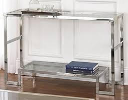 Sofa Console Table Amazon Com Contemporary Modern Chrome Metal And Glass Sofa